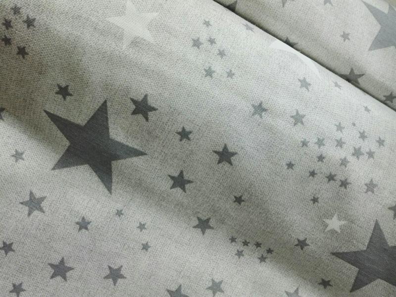 Loneta estrellas GRISES Y BLANCAS