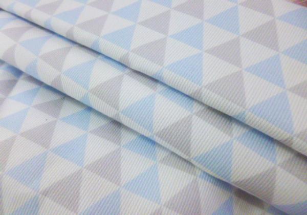 Piqué  triángulos GRIS y AZUL 100%algodón