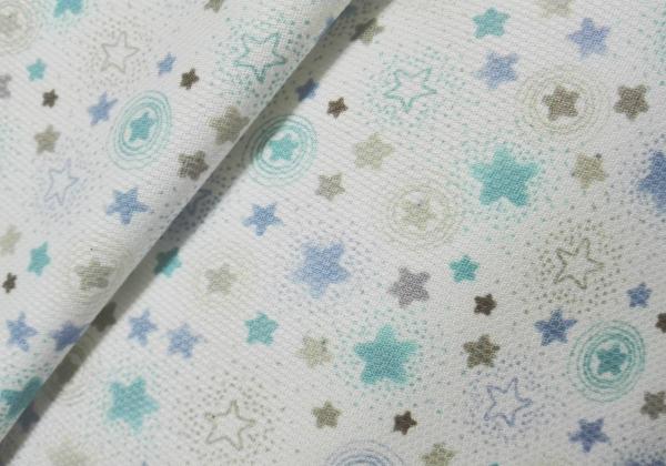 Piqué estrellas azules-grises 100%algodón