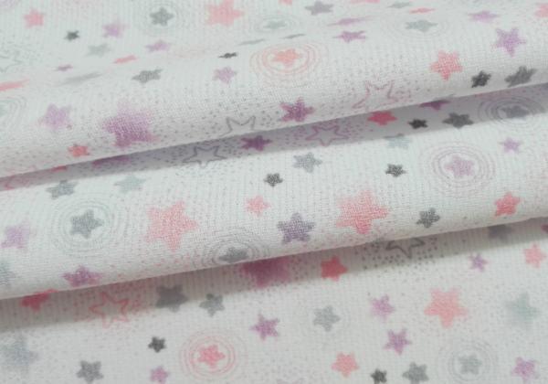 Piqué mil estrellas rosas 100%algodón