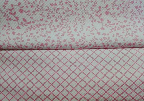 Piqué rosa combinado CUADROS/FLORES
